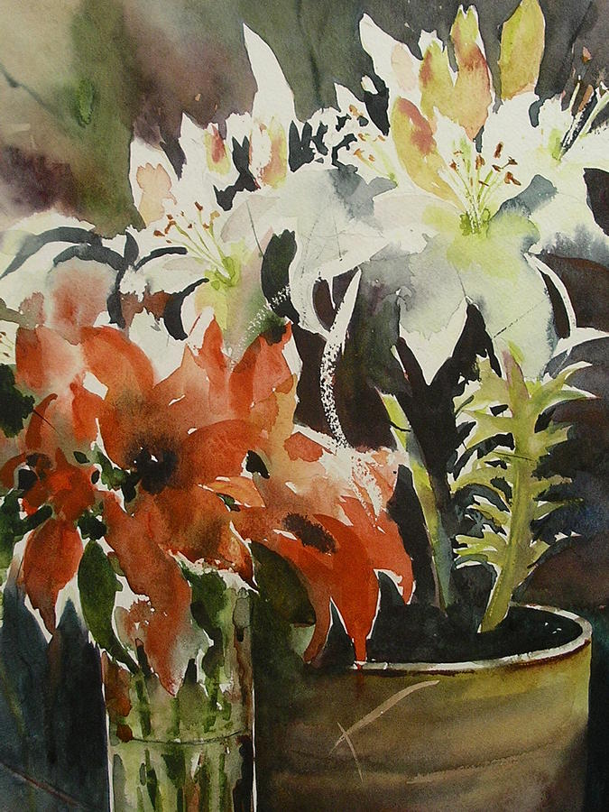 Flowers Painting - Lilies  And Amaryllis by Margaret Kent
