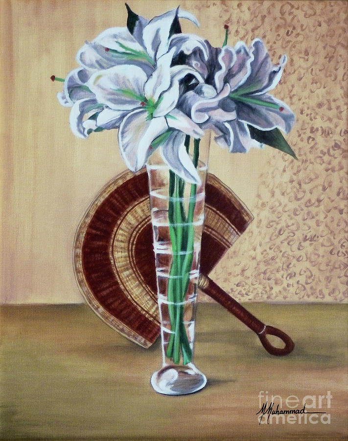 Lilies Painting - Lilies And Fan by Marcella Muhammad