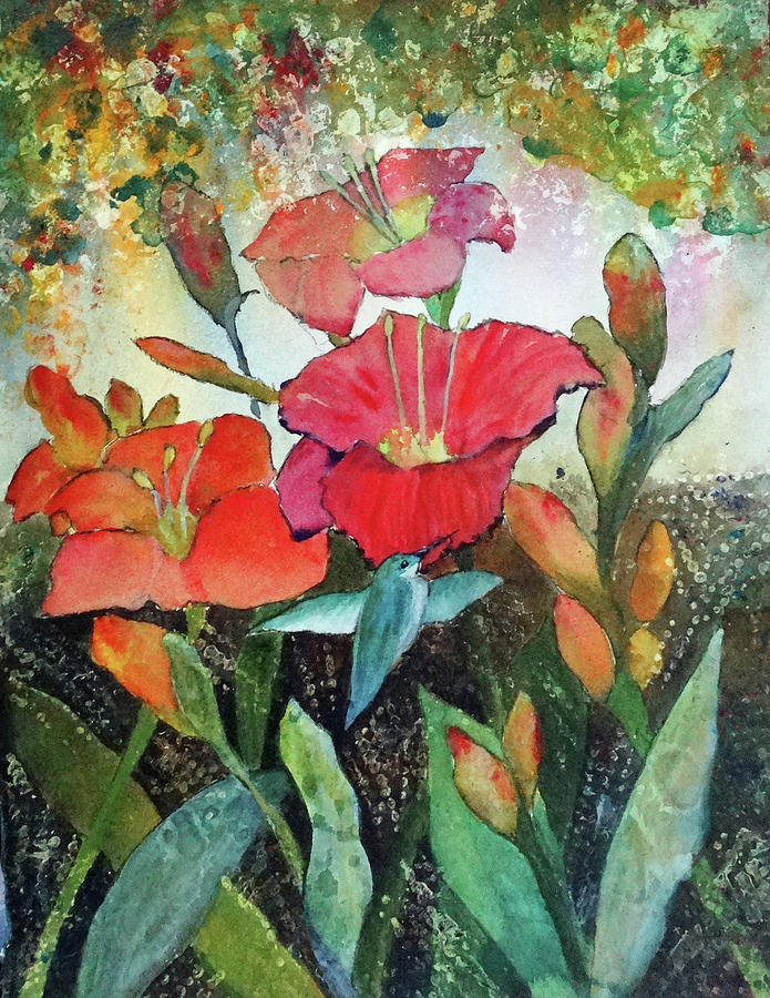 Lilies and Hummingbird by Kay Fuller