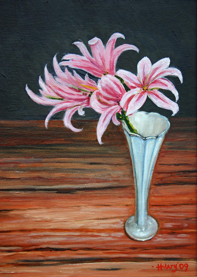Lilies And Wood. Painting by Hilary England