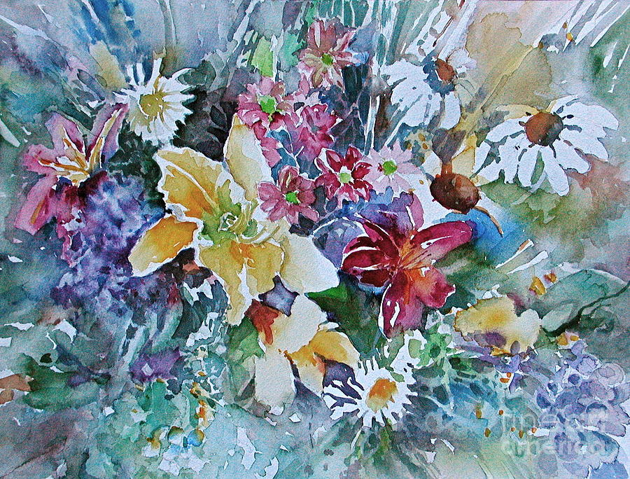 Flowers Bouquet Painting - Lilies Daisies Flowers Bouquet by Reveille Kennedy