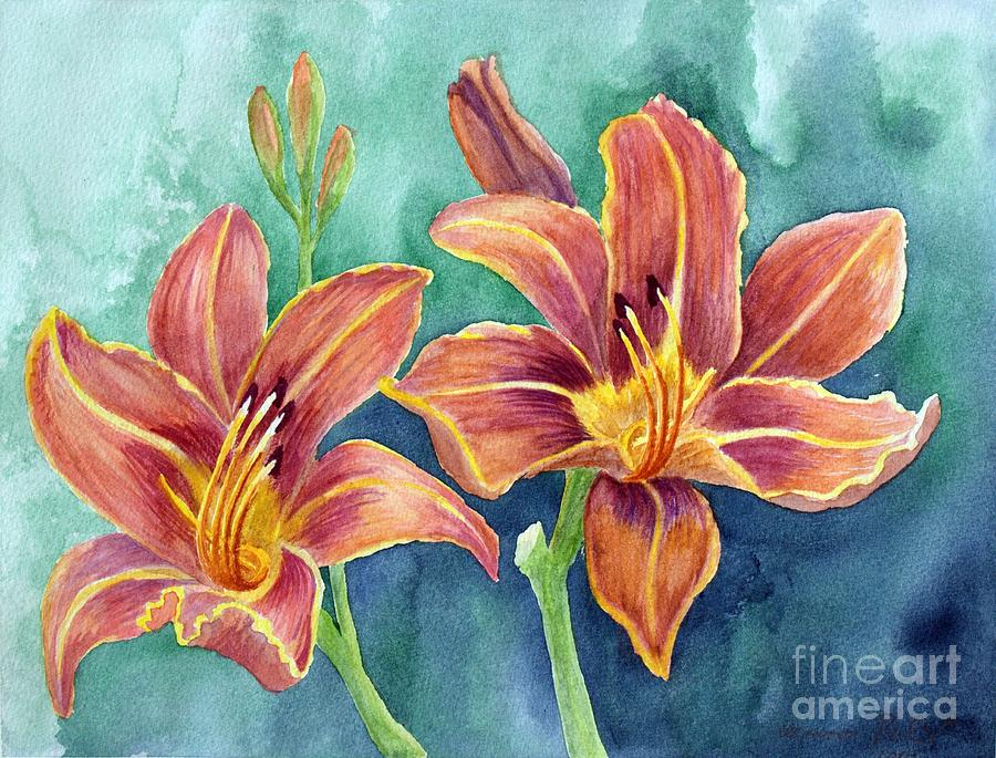 Watercolors Painting - Lilies by Eleonora Perlic