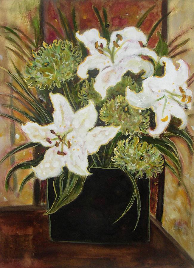 Floral Painting - Lilies In A Black Vase by Lorraine Platt