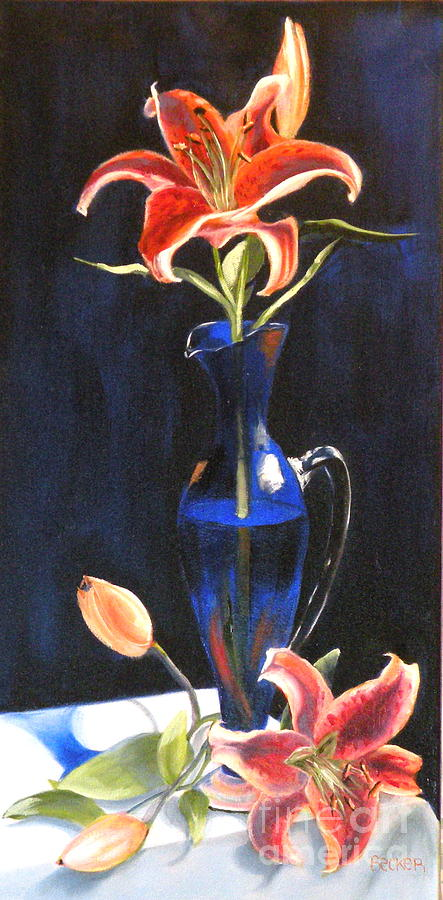 Lilies Painting - Lilies In Cobalt by Susan A Becker