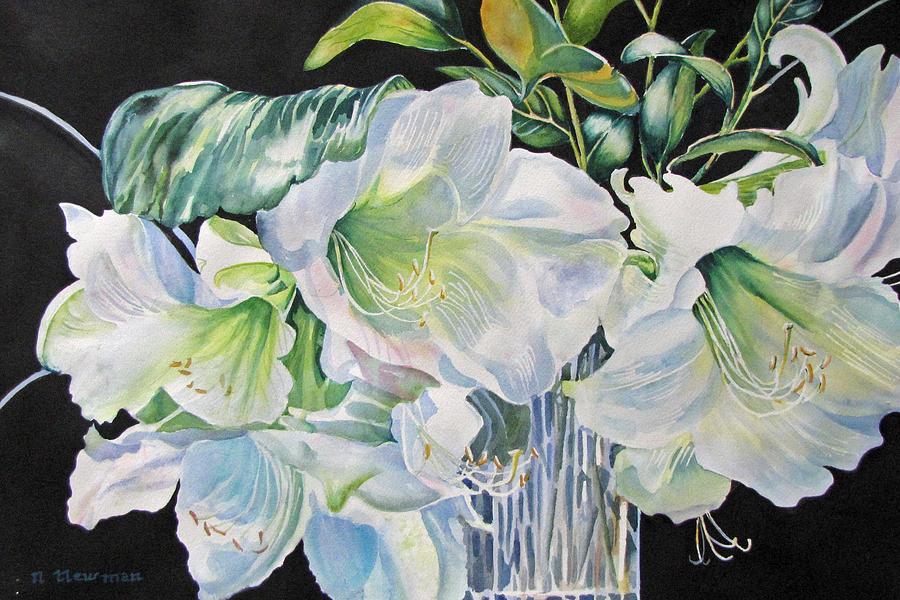 White Lilies Painting - Lilies-in-milan by Nancy Newman