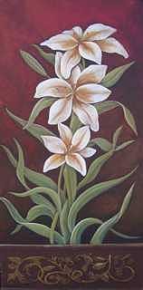 Original Painting - Lilies Still Life by Ekapon Poungpava
