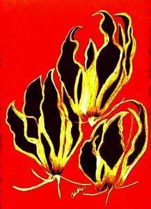 Lilies Mixed Media - Lilies Tha Climb II by Carliss Mora