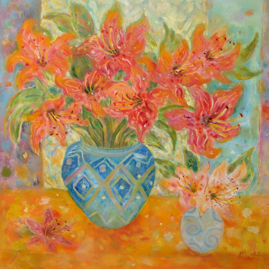 Floral Painting - Lillies In Aruba by Lorraine Platt