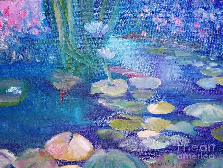 Water Painting - Lillypads by Judy Groves