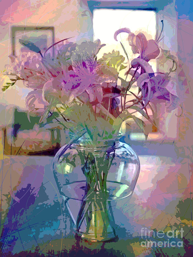 Still Life Painting - Lily Flowers In Glass by David Lloyd Glover