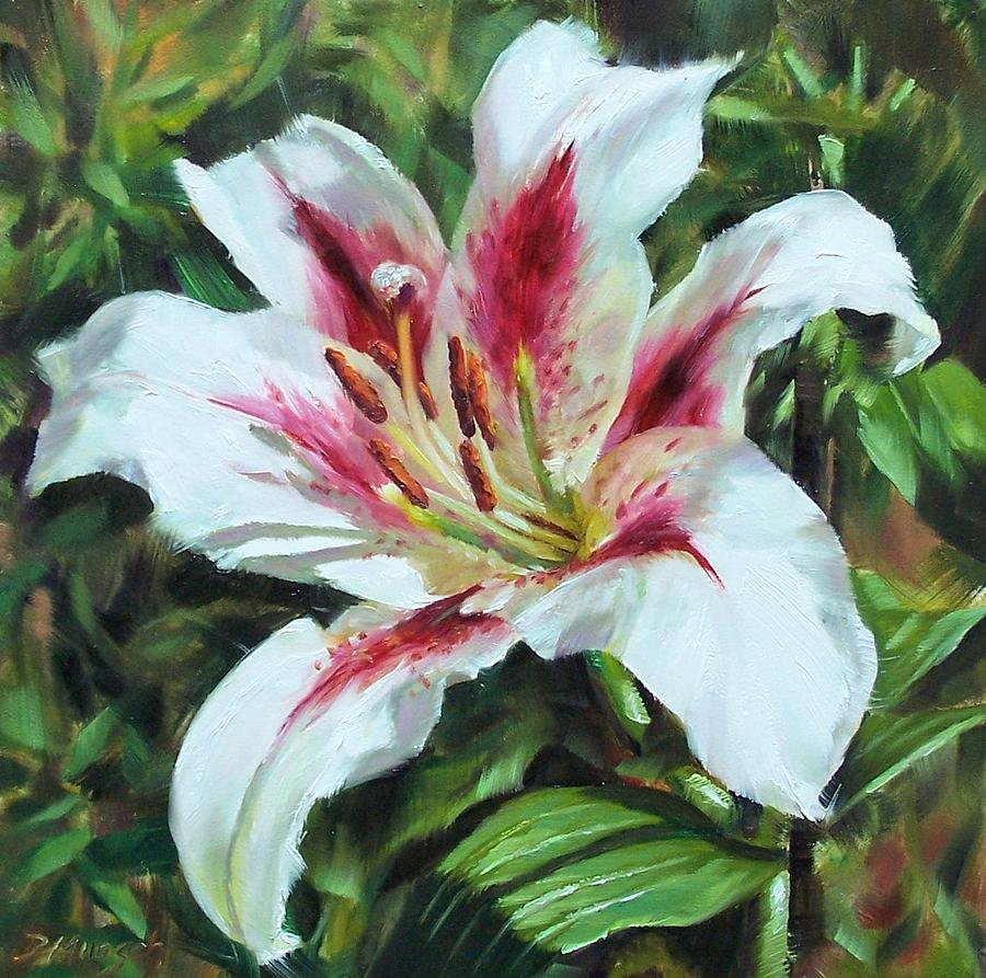 Oil Painting Painting - Lily Impression by Donna Munsch