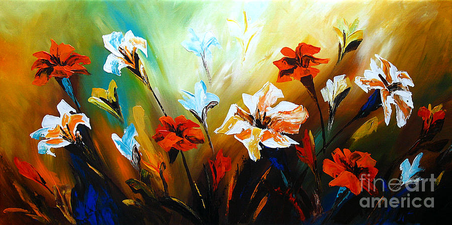 Lily In Bloom Paintings Painting - Lily In Bloom by Uma Devi