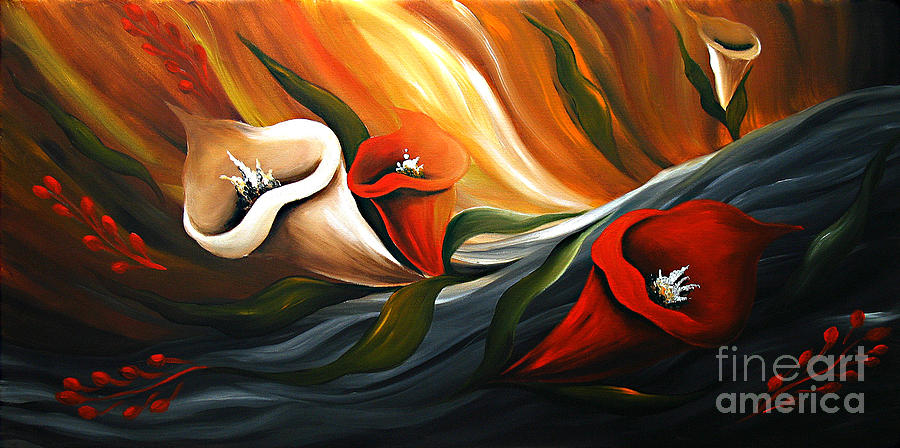Lily In Flow Painting by Uma Devi