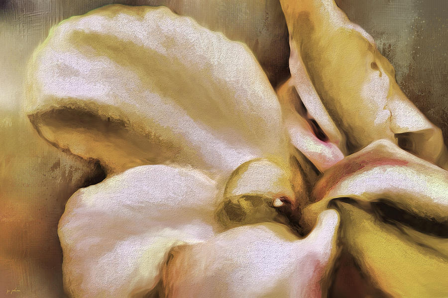 Jai Johnson Painting - Lily In The Garden Neutral by Jai Johnson