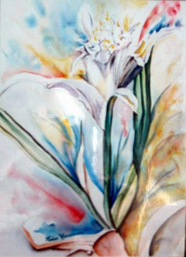 White Painting - Lily Of Lebanon by Therese AbouNader