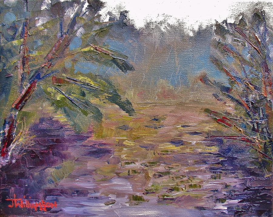 Oil Painting -  Lily Pads On A Pond, Overcast Sky 3pm by Jason Williamson