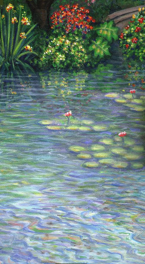 Lily Pads Painting - Lily Pads Triptych Part Three by Linda Mears