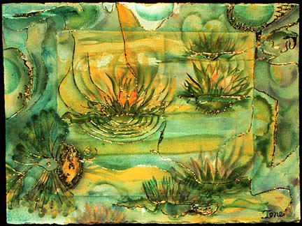 Watercolor Painting - Lily Pond by Ione Citrin