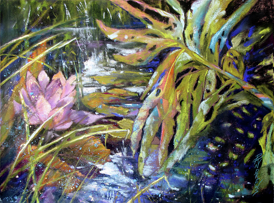 Landscape Painting - Lily Pond Light Dance by Rae Andrews