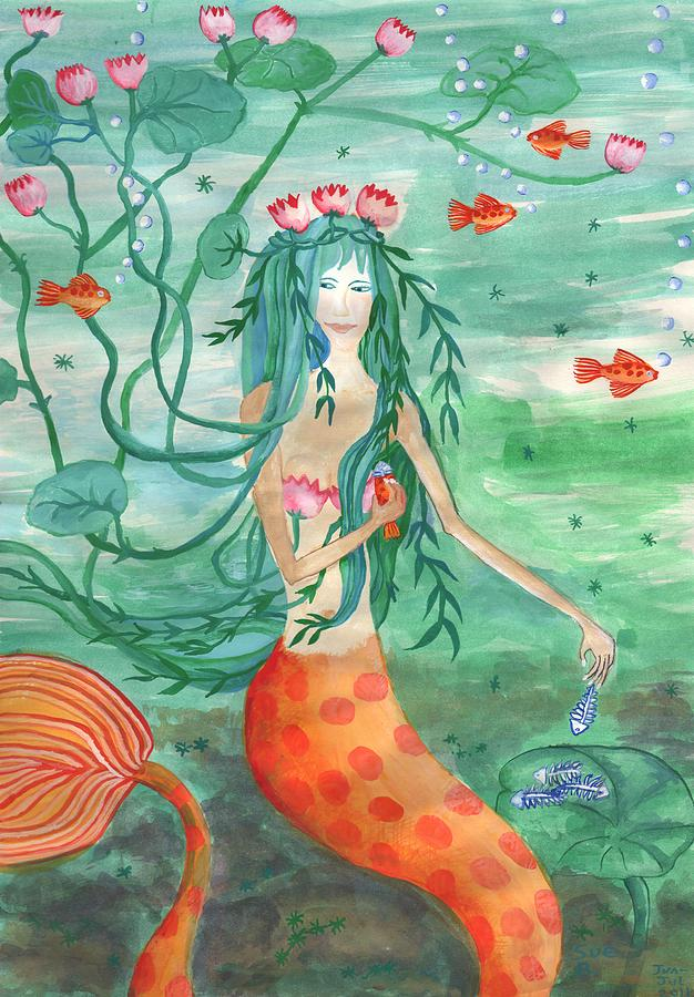 Mermaid Painting - Lily Pond Mermaid With Goldfish Snack by Sushila Burgess