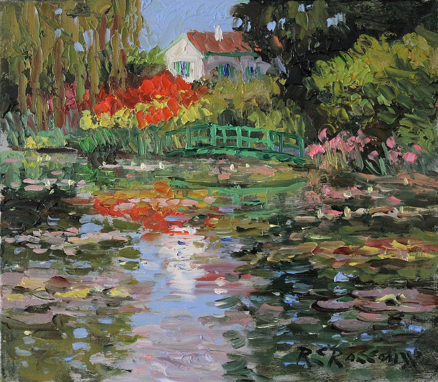 Lily Pond with Bridge by Roelof Rossouw