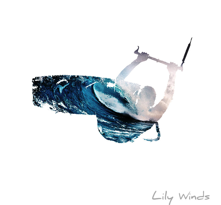 Kiteboarding Digital Art - Lily Winds Kitesurfing White Art by Lily Winds