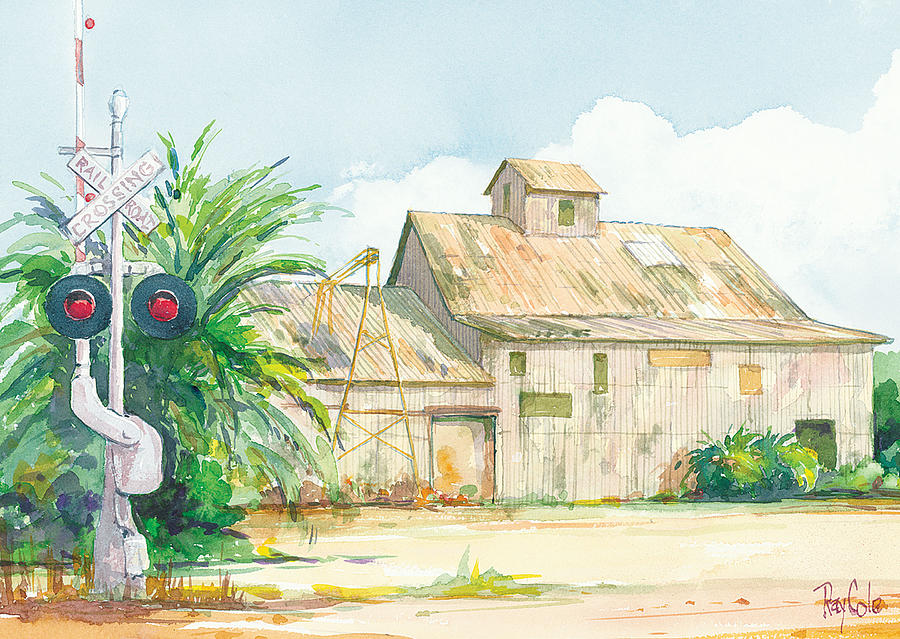 Historic Structure Near Train Crossing Painting - Lima Bean Plant 2 by Ray Cole