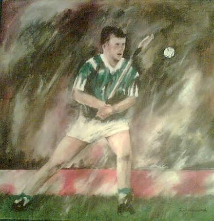 Hurling Painting - Limerick Hurler by Aine Gorman