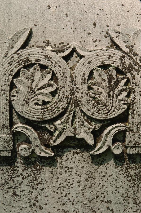 Limestone Photograph - Limestone Grave Carving by Jon Benson
