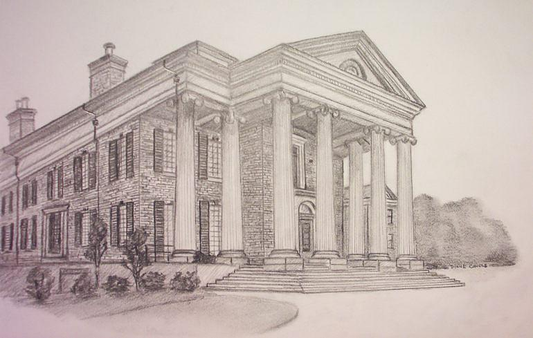 Linbrook Hall At Victory Junction Gang Camp Drawing by Diane Caudle