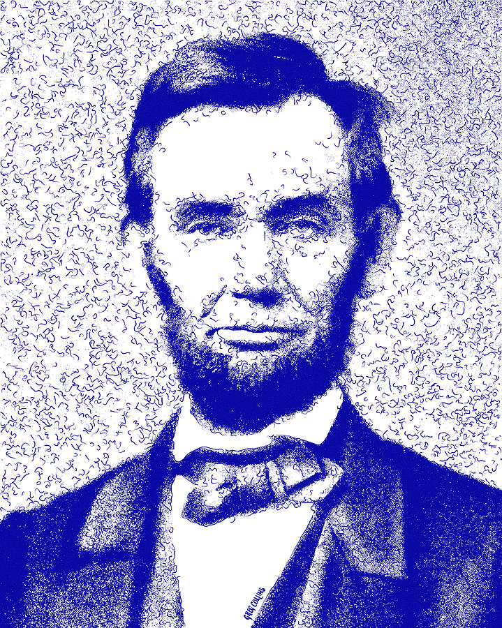 Ab Digital Art - Lincoln Abstract Blue by Greg Collins