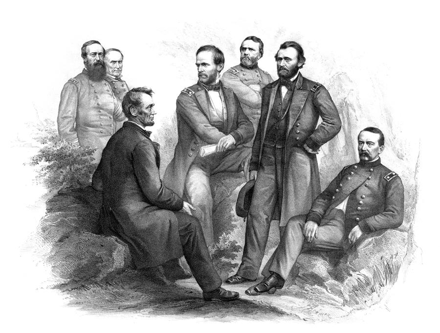 Civil War Drawing - Lincoln and His Generals Black and White by War Is Hell Store