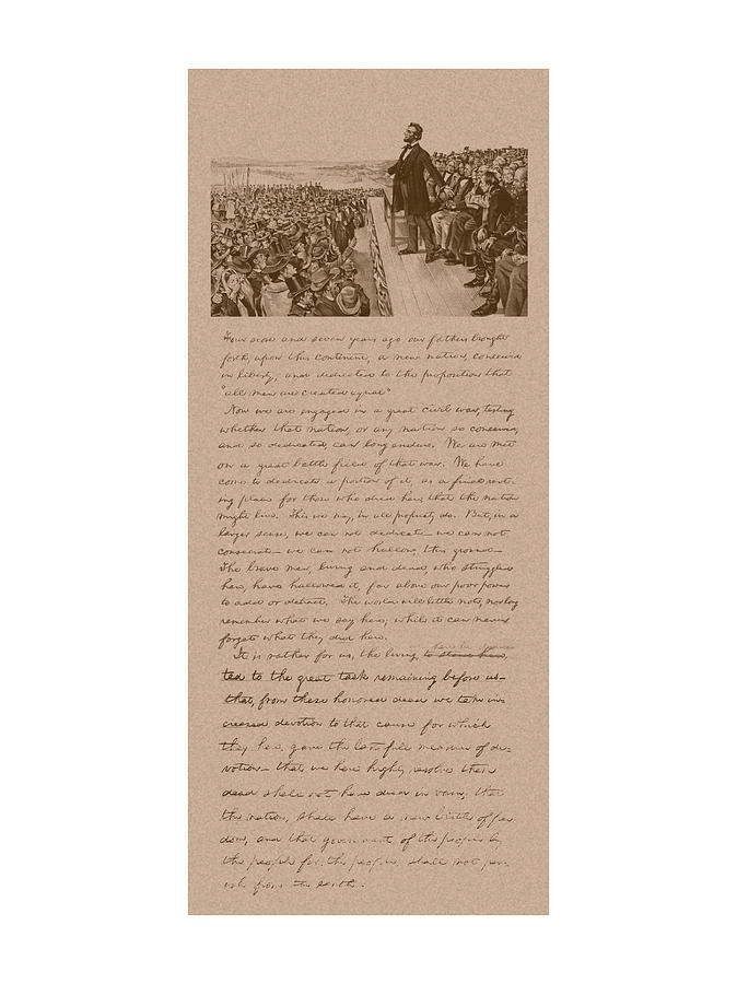 Lincoln And The Gettysburg Address Mixed Media