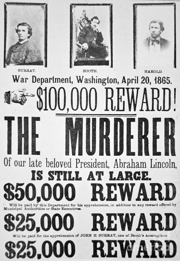 Canvas Lincoln Tech >> Lincoln Assassination Wanted Poster Photograph by American ...