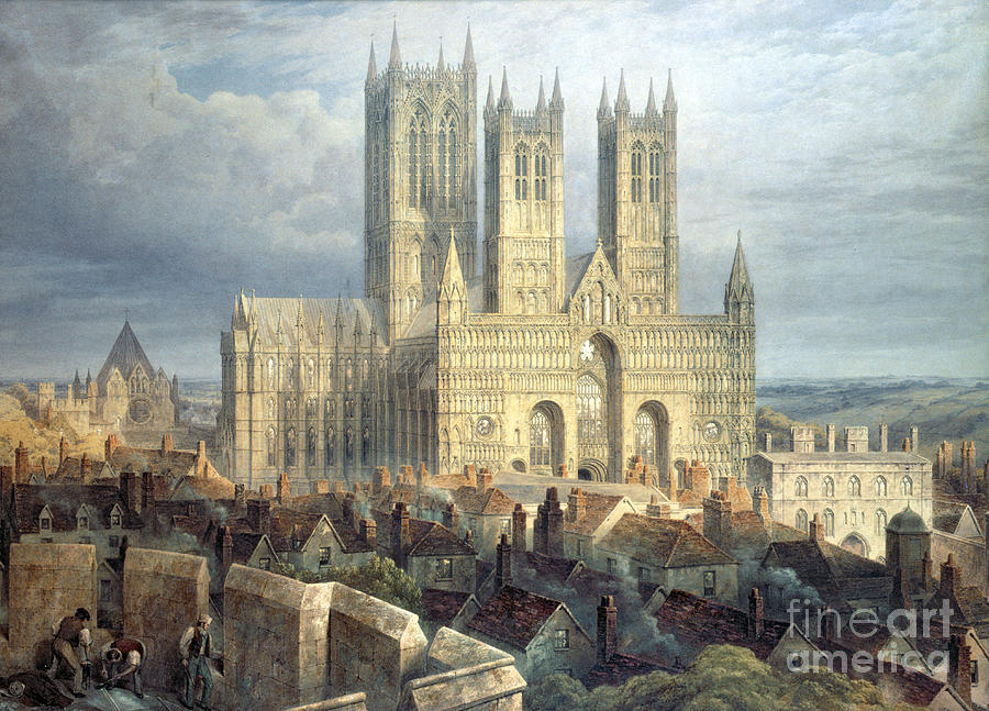 Lincoln Cathedral From The North West Painting By
