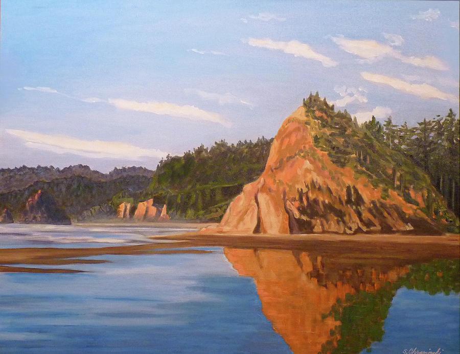 Lincoln City Rock Reflection by Stan Chraminski
