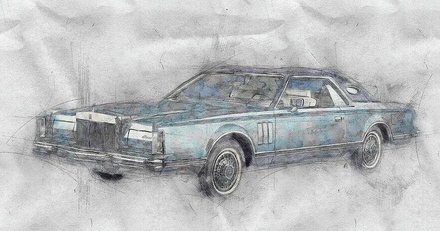 Lincoln Continental Mark V 1 - 1977 - Automotive Art - Car Posters Mixed Media