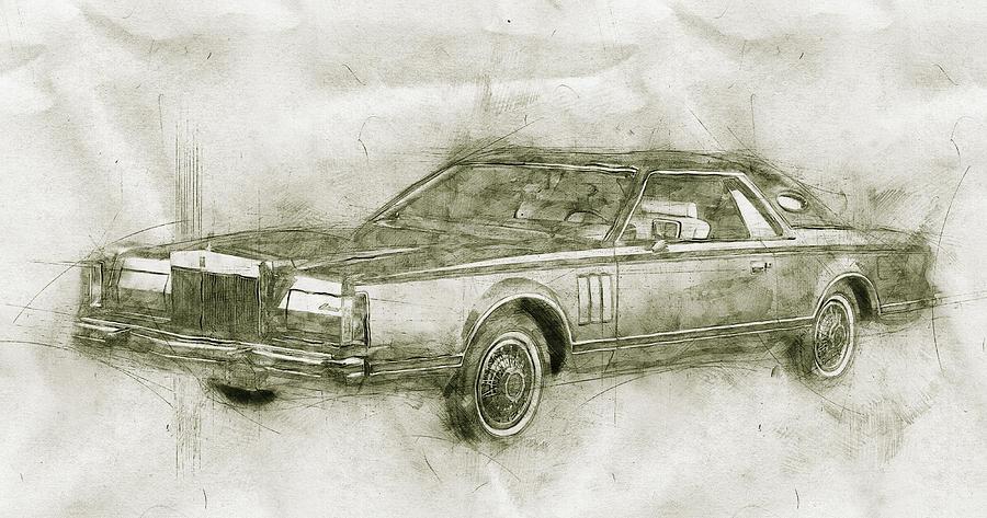 Lincoln Continental Mark V - 1977 - Automotive Art - Car Posters Mixed Media