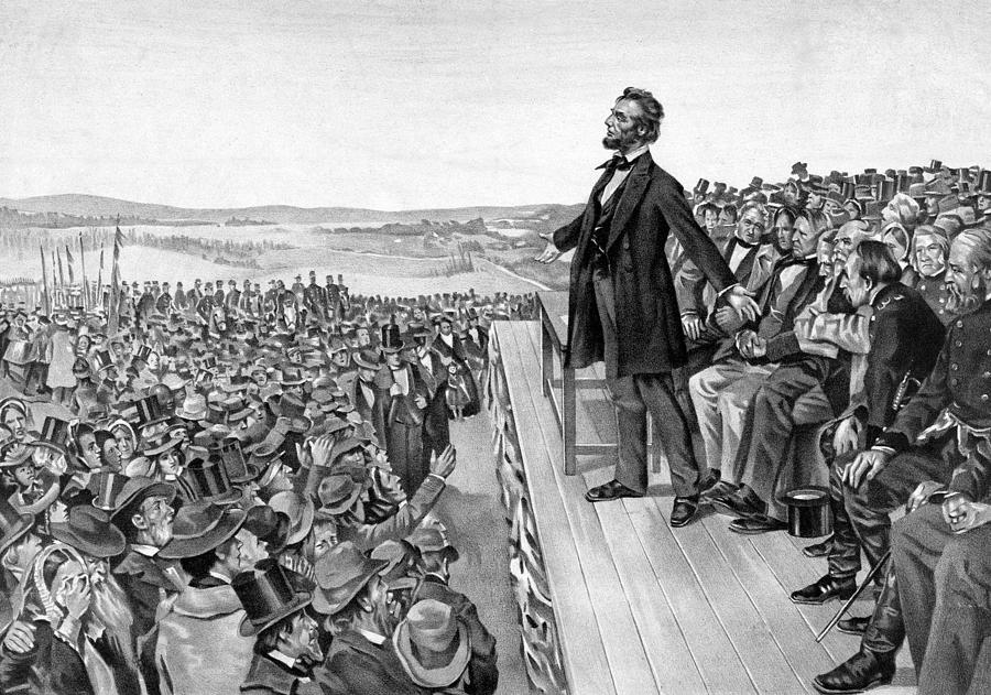 Gettysburg Address Drawing - Lincoln Delivering The Gettysburg Address by War Is Hell Store