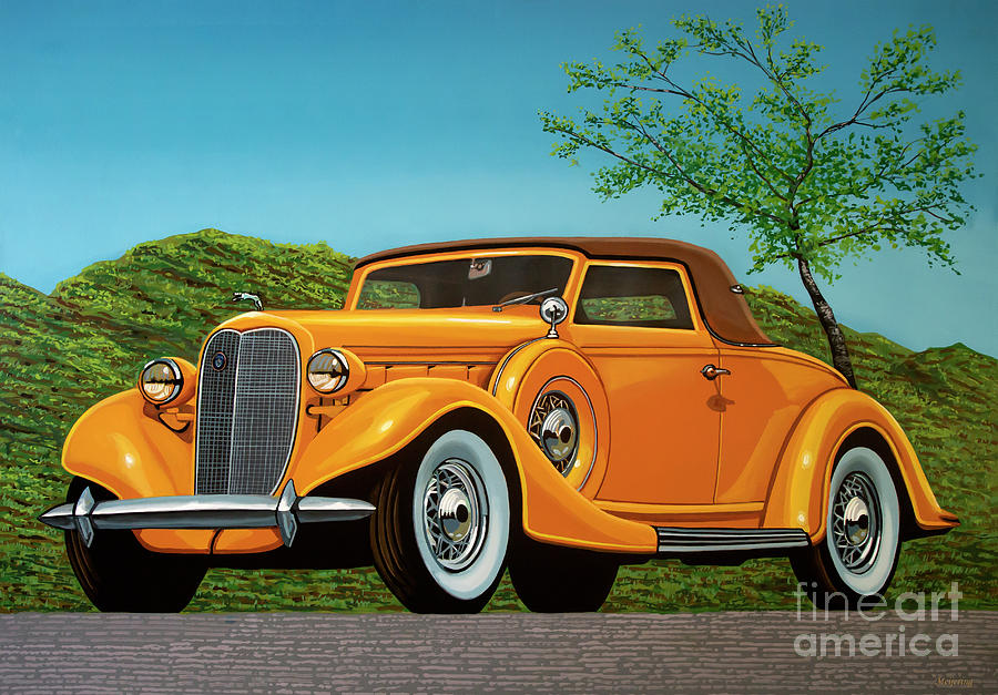 Lincoln Painting - Lincoln K Convertible 1935 Painting by Paul Meijering