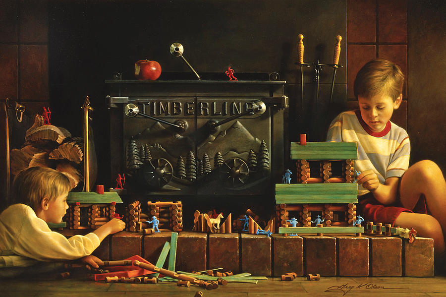 Fireplace Painting - Lincoln Logs by Greg Olsen