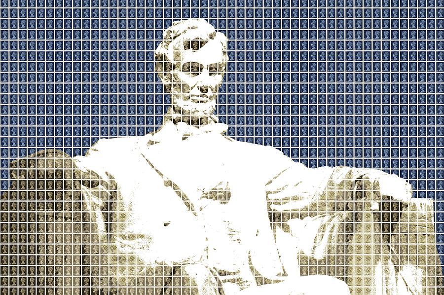 Abraham Lincoln Digital Art - Lincoln Memorial - Dark Blue by Gary Hogben