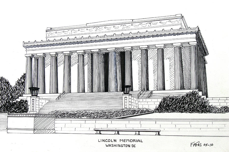 Pen And Ink Drawings Drawing - Lincoln Memorial  by Frederic Kohli