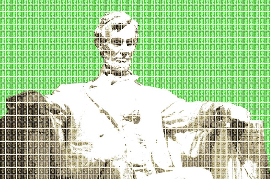 Abraham Lincoln Digital Art - Lincoln Memorial - Green by Gary Hogben