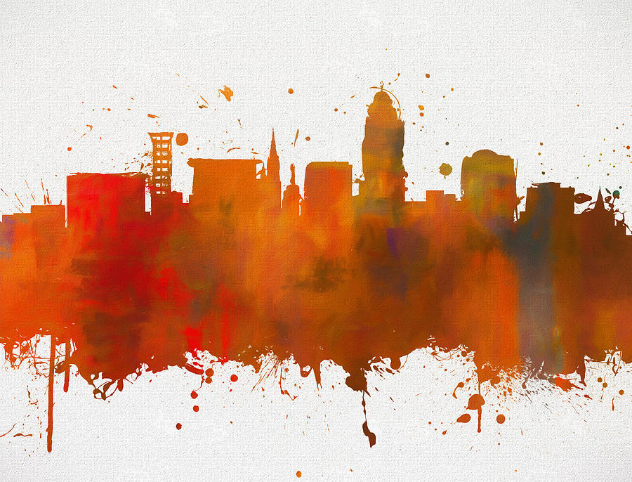 Lincoln Painting - Lincoln Nebraska Colorful Skyline by Dan Sproul