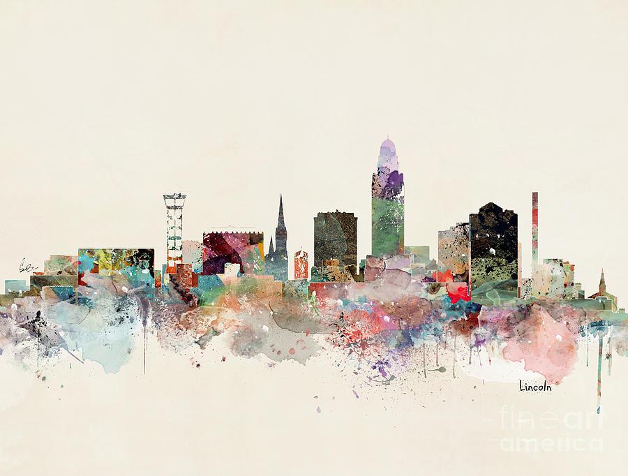 Lincoln Painting - Lincoln Nebraska Skyline by Bri Buckley