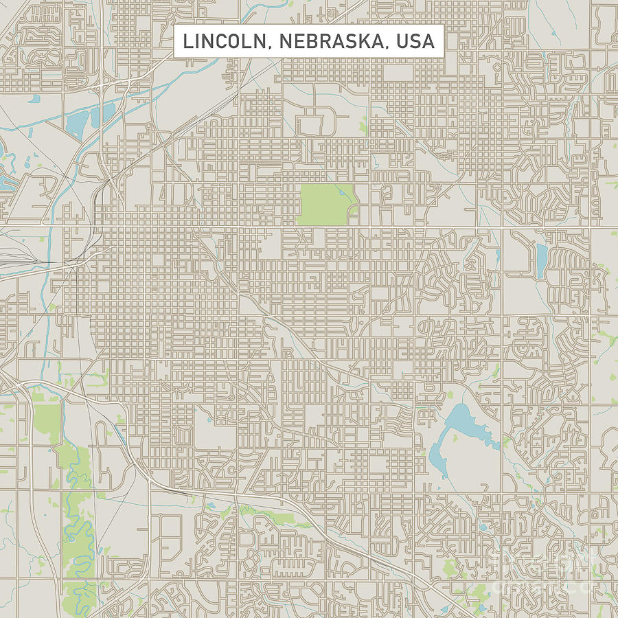 Lincoln Nebraska Us City Street Map