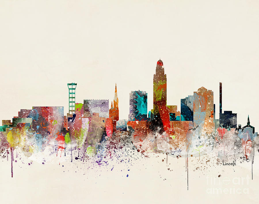 Lincoln Cityscape Painting - Lincoln Skyline by Bri Buckley