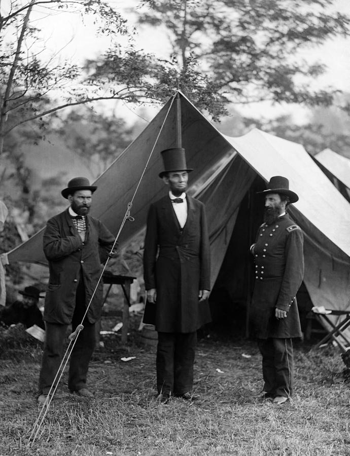 Allan Pinkerton Photograph - Lincoln With Allan Pinkerton - Battle Of Antietam - 1862 by War Is Hell Store