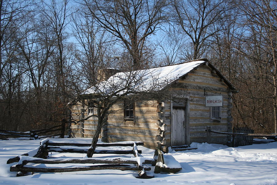 Winter Photograph - Lincolns First Store by Gregory Jeffries